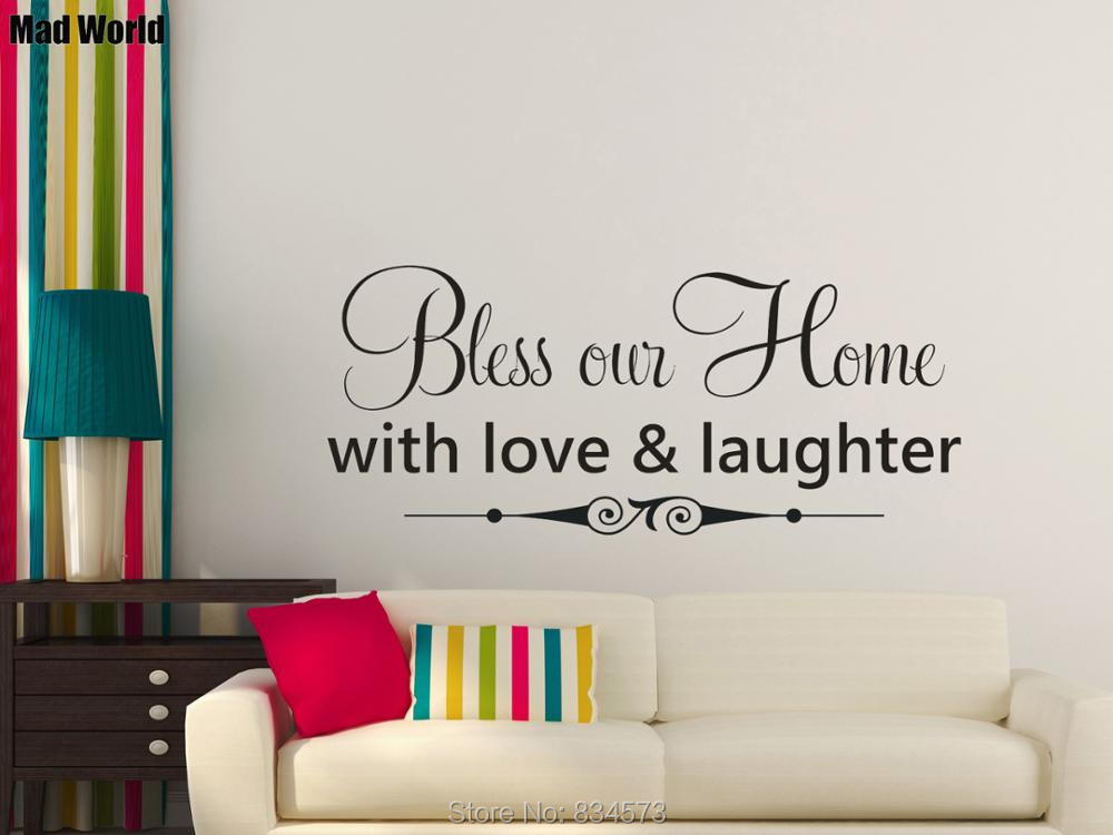 Bless our Home with love & laughter Wall Art Stickers Wall Decals Home DIY Decoration Removable Room Decor Wall Stickers
