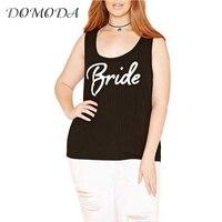 DOMODA Plus Size New Fashion Women Square Collar Off Shoulder Slim Letter Print Big Size Tank