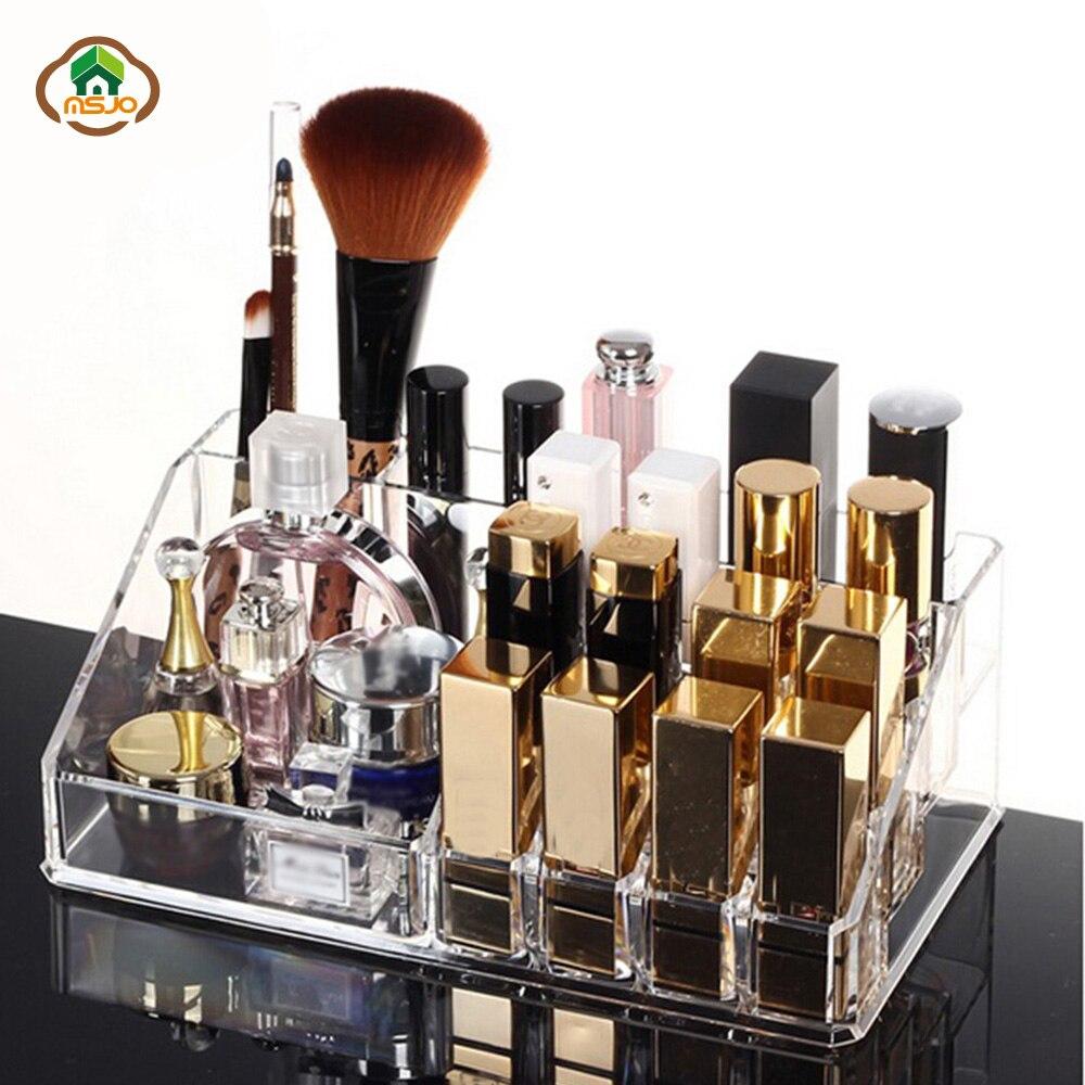 Msjo Storage Boxes  Acrylic Makeup Box 16 Lattice  Jewelry Makeup Organizer Storage Box Lipstick Cosmetic   Make  Up  Organizers Makeup Organizers     - title=