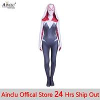 Ainclu 3D Print Spider Gwen Stacy Spandex Lycra Zentai Spiderman Costume for Halloween and Cosplay Female Spider Suit Anti Venom