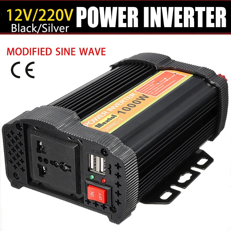 Inversor 1000 W 12 V a AC 220 voltios Auto Max 2000 Watt onda sinusoidal modificada convertidor de carga transformador 2 USB