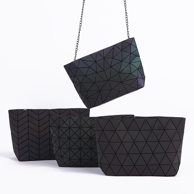 New Women Chain Shoulder Bag Luminous sac Bao Bag Fashion Geometry Messenger Bags Plain Folding Crossbody Bags Clutch bolso 5