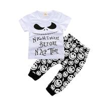2PCS Summer Kids Sets Cartoon Cotton Girl Boy Clothes Suits Skeleton Short Sleeve Children Outerwear New