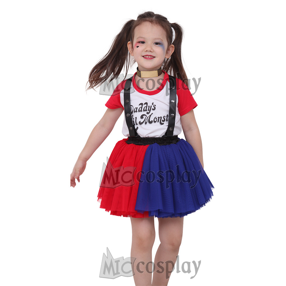 Harley Quinn Girl Red and Blue Dress Costume for Kids
