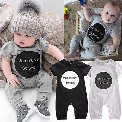 Newborn Infant Baby Boy Mama Letter Printed Black/grey Romper Jumpsuit Playsuit Outfits Clothes 0-18m Bodysuits & One-pieces
