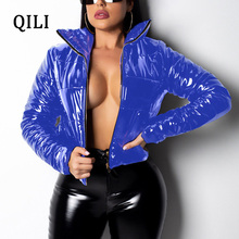 QILI Winter Down Women Warm Clothes Slim Short Parka Zipper Padded Jacket Outerwear PU Leather Long Sleeve Tops Bubble Coat