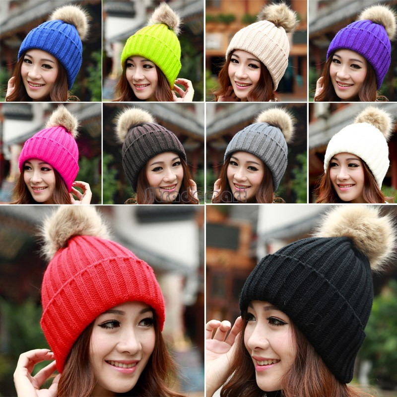 Perfect 2017 New Hat Female Classic Knitted Faux Fur Pom Poms Women Cap  QA77