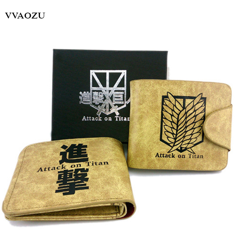 High Quality Japan Anime Cartoon Attack on Titan Wallet Women Men Cosplay Coin Purse Cards Holder Short Money Bag for Kids anime fate stay night coin wallet cosplay men women bifold purse