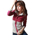 2016 Spring Autumn Polo Women Long Sleeve Faux Twinset Tops Slim Polo Mujer Fashion Ladies Polo Shirt Femme Plus Size 4XL A526