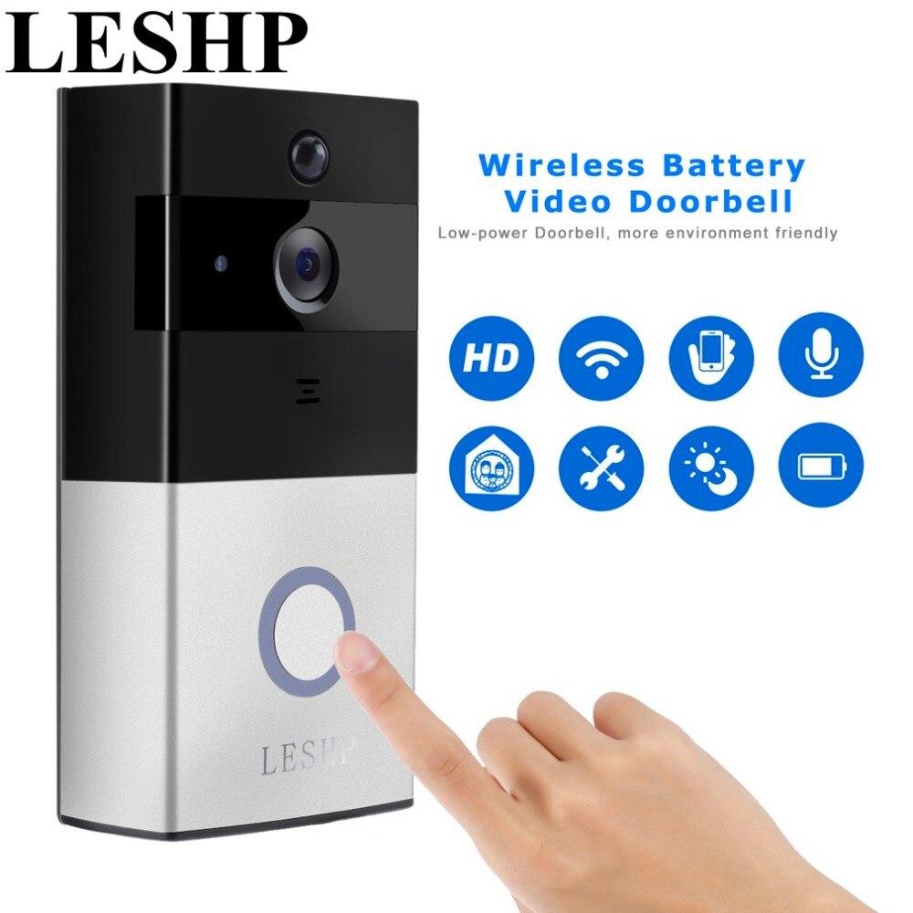 Leshp видео Дверные звонки 1080 P Беспроводной Wi-Fi Кольцо Дверной звонок HD 2.4 г пульт дистанционного управления телефоном движения PIR двустороння...