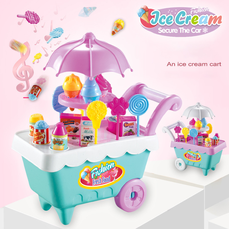 Bene 16 Pcs Per Bambini Mini Ice Cream Trolley Giocattolo Per Bambini Di Simulazione Cucina Giocattoli Set Regalo Di Compleanno Per Bambini