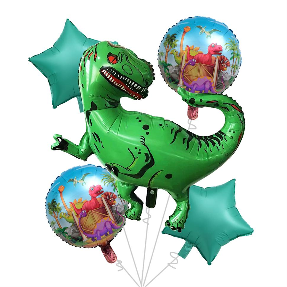 5 pcs Large Green Dinosaur Helium Foil Balloon Tyrannosaurus Rex Balloons Baby Kids Toys dinosaur theme birthday party decor