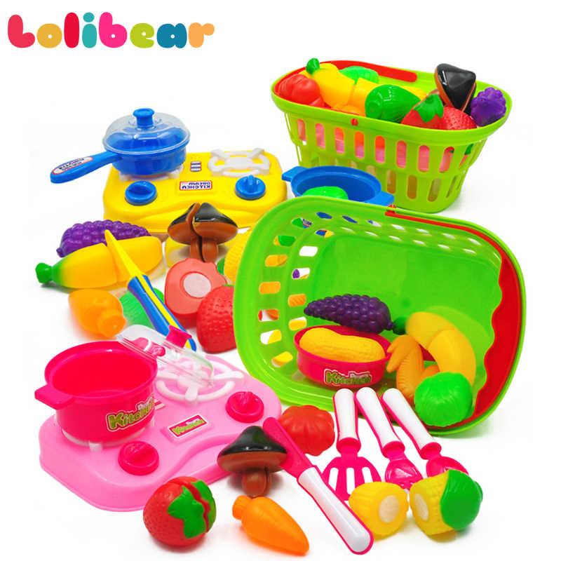 19 шт./компл. Кухня Пособия по кулинарии набор моделирования Пластик фрукты и овощи корзина образование ролевые игры для детей игрушки для девочек