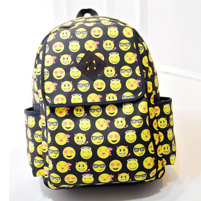 Boys Girls Smiley Fangirl Emoji Backpack Funny 3D Cartoon Canvas Satchel Backpacks  Cute Book Bags Schoolbag for Teenagers fb6b0077d3b44