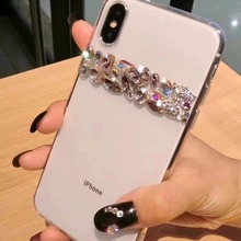 XSMYiss Lüks Bling Kristal Elmas papyon Temizle Geri Rhinestone telefon kılıfı Kapak Için iPhone XR Xs Max 7 8 Artı 6 6 s artı 5...
