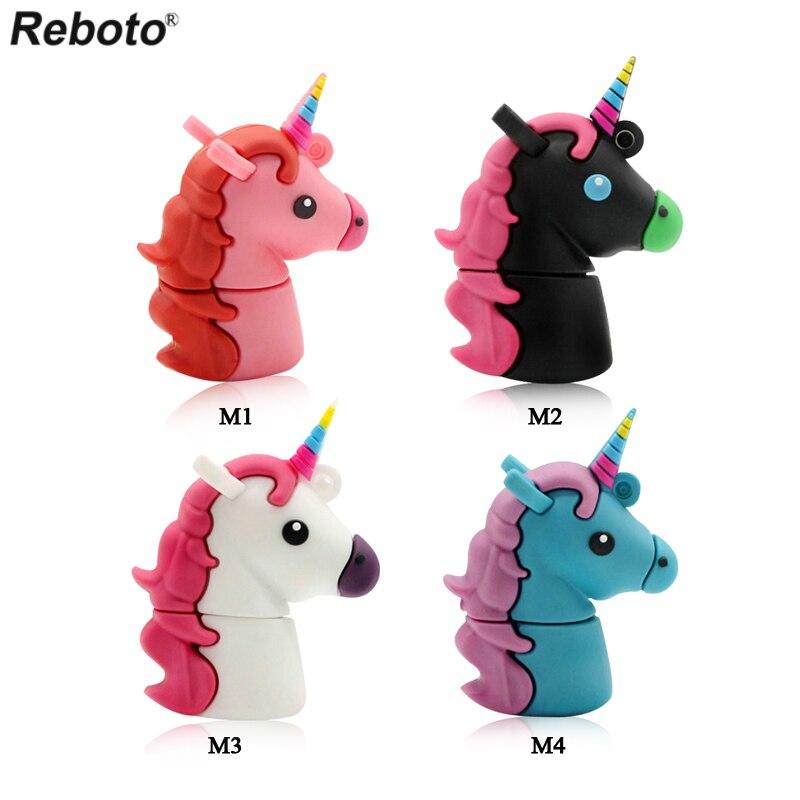 цена на Reboto Unicorn USB Flash Drive 64GB Genuine Cartoon Memory Stick Pen Drive 4GB 8GB 16GB 32GB Pendrive U Disk Toy