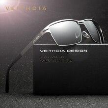 Veithdia óculos de sol masculino polarizado, óculos de sol masculino polarizado de aço inoxidável, acessório para homem 2711