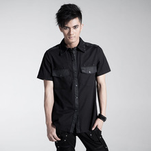 PUNK RAVE men punk personality design shirt with rivet decoration Y-437