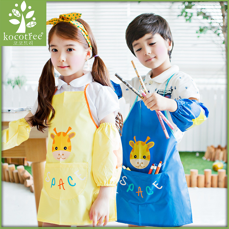 Korean kids apron cute sleeveless kitchen cooking apron oil proof cartoon apron cotton drawing apron children