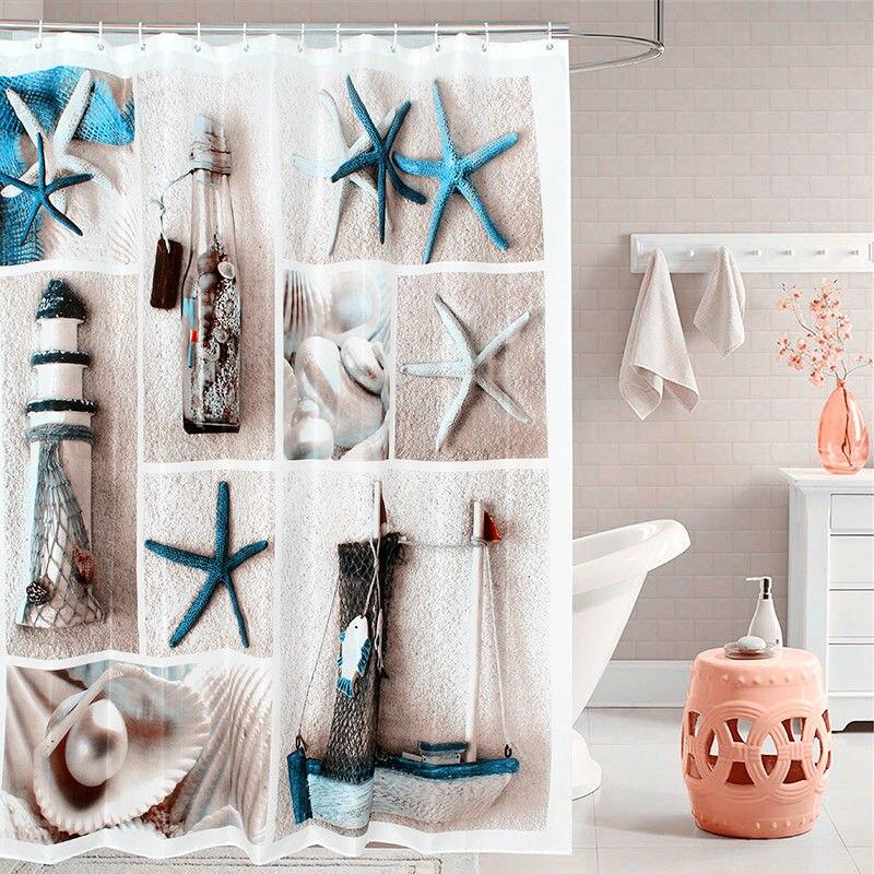 Fabric Polyester Blue Sea Life Seashell Waterproof Shower