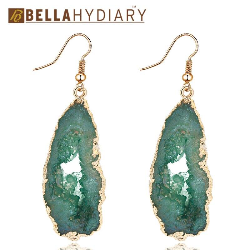 Bijoux Chic Stone Hollow Druzy Resin Earrings Big Drop Earrings For Women Jewelry Statement Gifts For Women Accessories Brinco