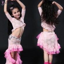 Kids belly dancing Costumes Set Dress Suits Clothes for kids children Princess Tuxedo skirt 2 pcs Top+Skirt