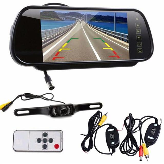 """Nova Chegada Estilo Do Carro 7 """"LCD Espelho Monitor + Wireless Car Reversa Vista Traseira Backup Câmera de Visão Noturna"""