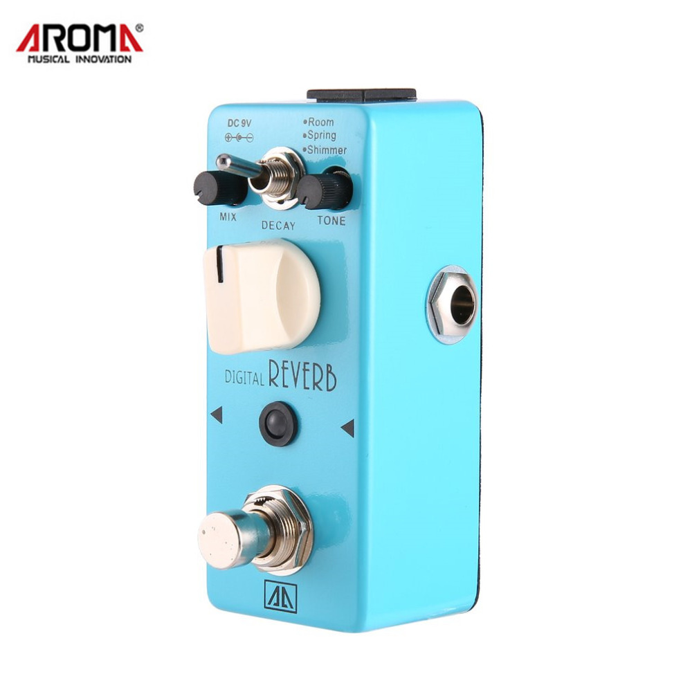 AROMA AOV-5 Digital Reverb Guitar Effect Pedal 3 Modes True Bypass Aluminum Alloy Body Durable Guitar Parts & Accessories aroma tom sline abr 3 mini booster electric guitar effect pedal with aluminum alloy housing true bypass durable guitar parts