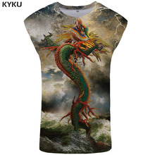 KYKU Dragon Tank Top Men Animal Mens Bodybuilding Lightning Vest Mountain Undershirt Colorful Stringer Sleeveless Shirt New