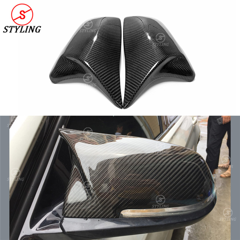 For BMW 2 Series Touring F45 F46 2014+ X1 F48 F49 2016 1 series F52 carbon fiber Rear Side View Mirror Cover M Look 2014 - UP 2pcs for bmw x1 f48 2016 17 abs matt chrome rear back net frame cover trim auto parts for bmw 2 series 218i f45 f46 car styling