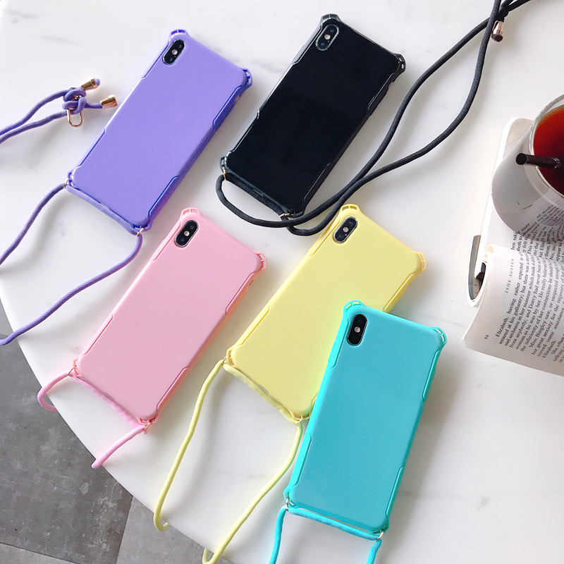 Simple Candy Color Case For IPhone 11 Pro XS MAX X XR 8 7 6 S Plus Solid Color Hard Plastic Shockproof Cover With Shoulder Strap