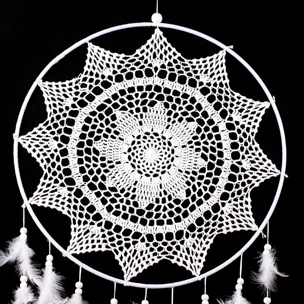 36.6 Large Dream Catcher with Feathers Handmade White Dreamcatcher Wall Hanging Decoration Home Garden Living Room Ornament