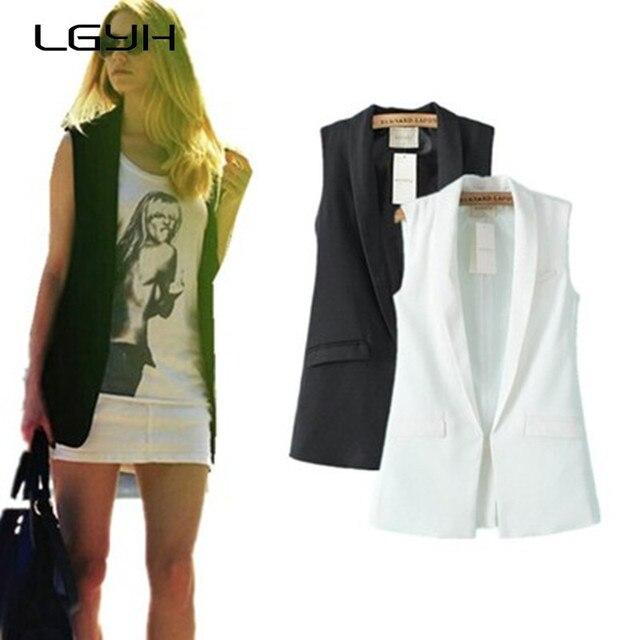 f69da553bc Mulheres branco preto casaco colete estilo colete jaqueta sem mangas para  trás GCR-02 Coletes
