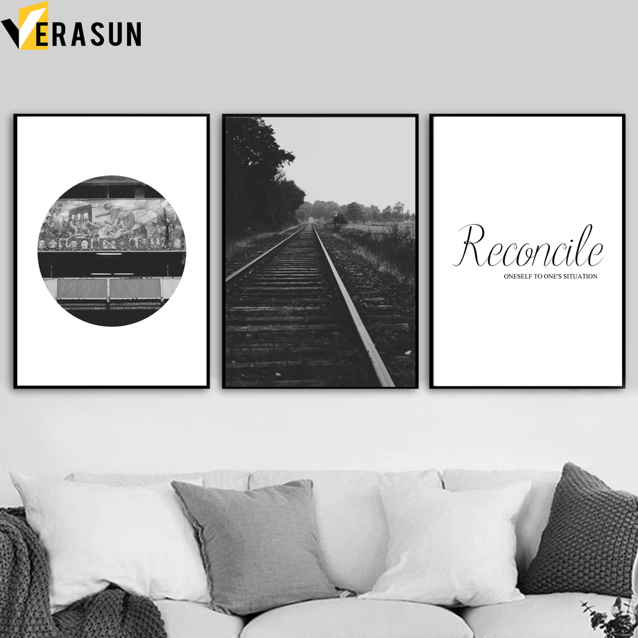 VERASUN Railway Letter Canvas Painting Wall Art Posters And Prints Landscape Paintings Wall Pictures For Living Room Decoration