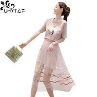UHYTGF New Plus size Dress Women Summer Ladies Dress Mesh Printing DressesFemale vestidos de fiesta largos elegantes de gala 510