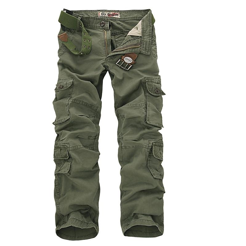 2017 Vīrieši Kravas bikses Army Green Multi kabatas Combat Ikdienas kokvilnas vaļēju taisnas bikses Izmērs 46 Vīriešu viegli mazgājamas bikses bez jostām