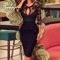 2017 Новые Летние Твердые Тонкий Dress Женщины С Плеча Половина рукава Выдалбливают Sexy Кружева Цветок Длинные Платья Bodycon Fit Vestidos