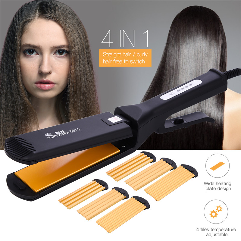 Professional Hair Crimper Corrugation Hair Straightener Curling Iron Curler Corrugated Straightening Iron Ceramic Hair Curler 3 in 1 hair curler rollers straightener iron interchangeable hair curling iron hair straightening corrugated iron styling tools