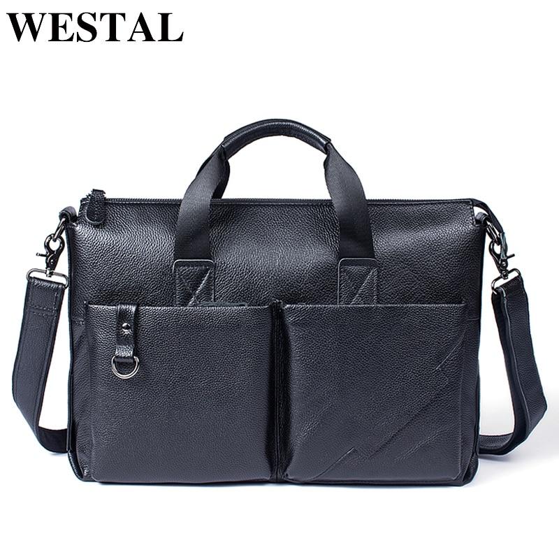 Здесь продается  WESTAL Genuine Leather Mens bag Messenger Bags Crossbody Bags Totes Multifunctional Briefcase 15