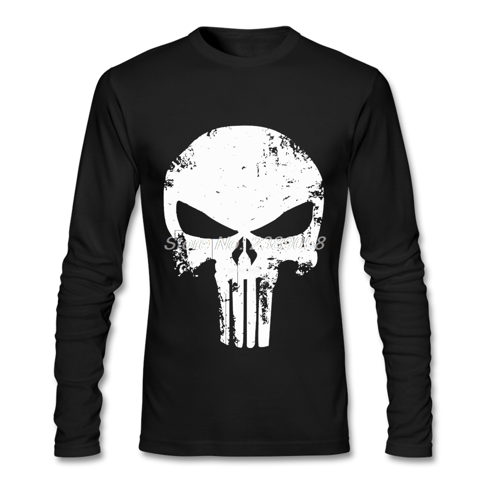 Design your own t-shirt for cheap price - Mens T Shirt Punisher Skull Design New Coming Cheap 3d Print Clothing Long Sleeve Mens T Shirts Plus Size