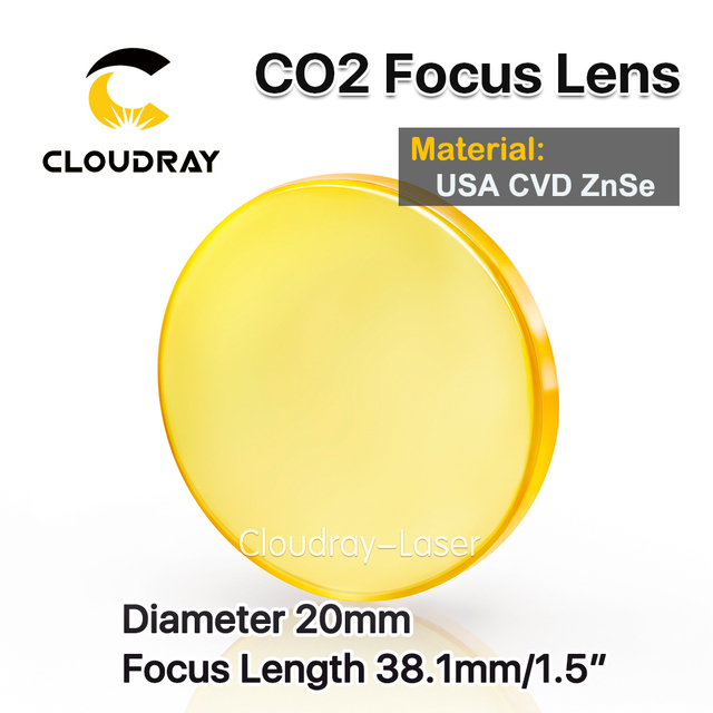 "Cloudray USA CVD ZnSe Focus Lens Dia. 20mm FL 38.1mm 1.5"" for CO2 Laser Engraving Cutting Machine Free Shipping"