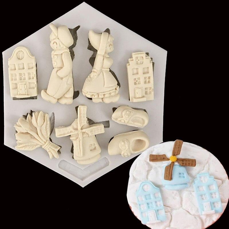 Nouvelle angleterre vent série pastorale moulin à vent petit garçon fille  Fondant Silicone moule tasse gâteau décoration moule poupée moule