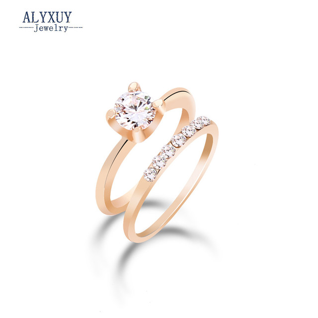 Fashion jewelry New gold color CZ zircon finger ring set wedding gift for women