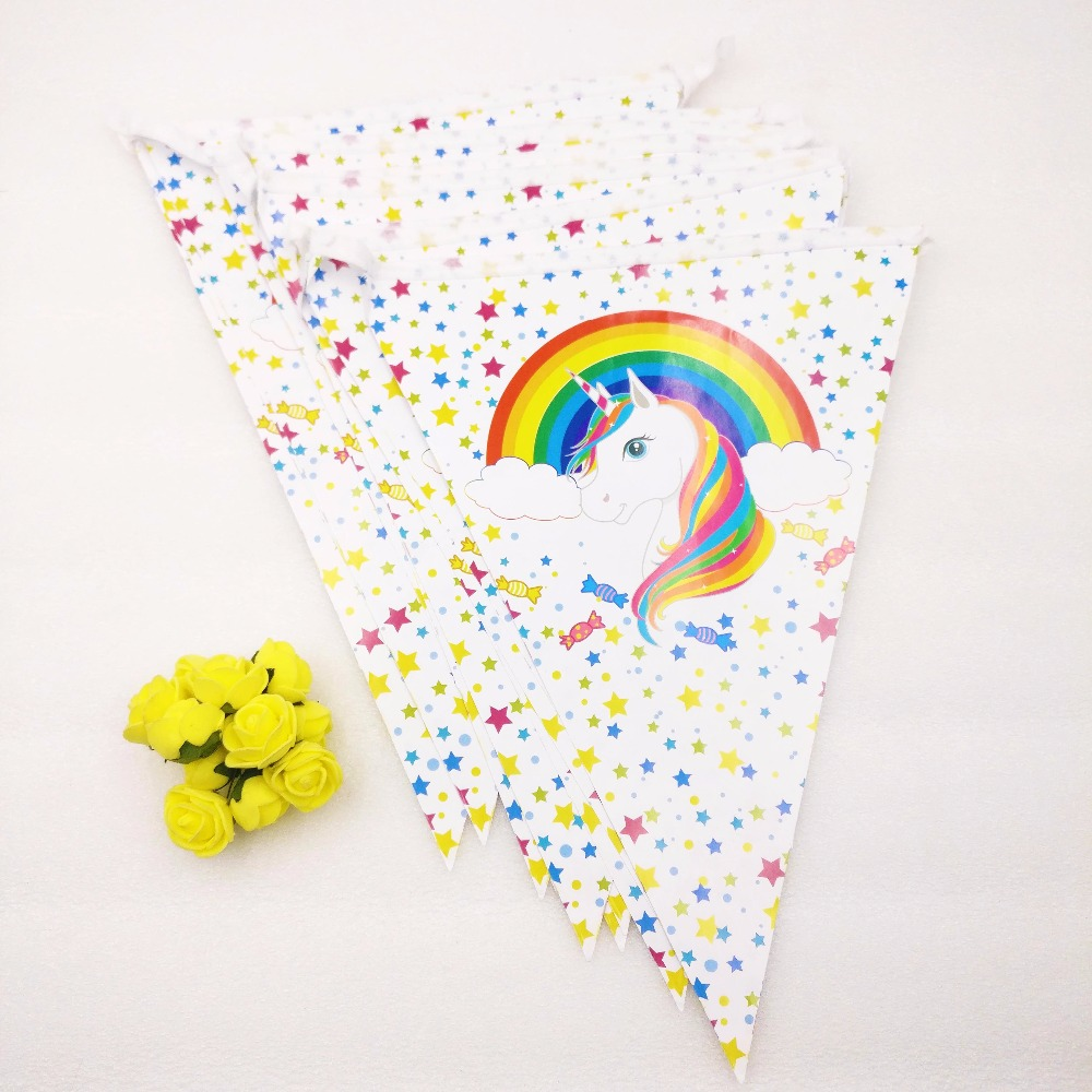 1pc/bag Unicorn Flag Cartoon Pennant Birthday Party New Year Supplies Home Decoration Kids