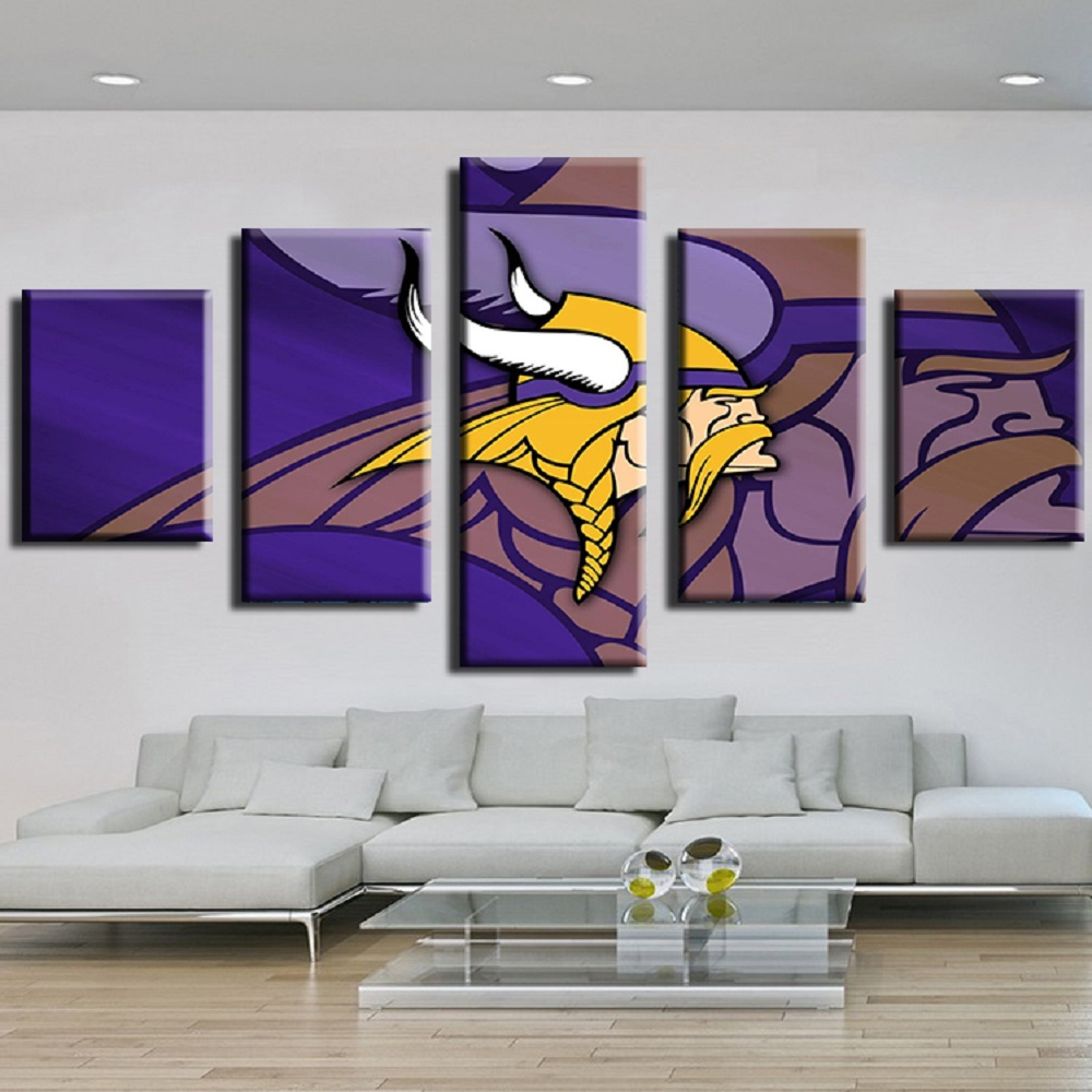 5pcs cuadros nfl minnesota vikings team logo oil painting on 5pcs cuadros nfl minnesota vikings team logo oil painting on canvas modern home decor pictures prints living room decor wall art in painting calligraphy amipublicfo Image collections
