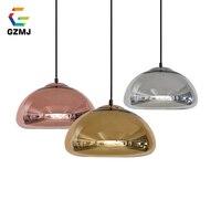 GZMJ Modern Brief Pendant Lights Glass LED Hanging Lamps for Living Room Bedroom Dining Room Copper Silver Golden 3 Colors