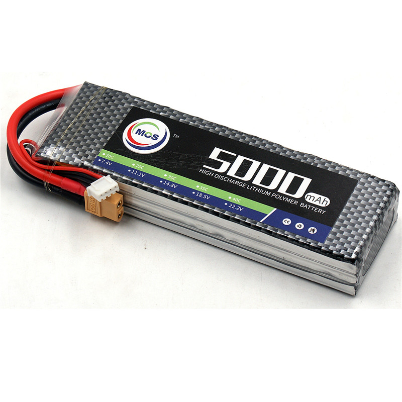 MOS RC Airplane LiPo Battery 3s 11.1v 5000mah 40c Rechargeable Li-Po Batteries for RC Helicopter Quadcopter Car 3S Batteria mos 5s rc lipo battery 18 5v 25c 16000mah for rc aircraft car drones boat helicopter quadcopter airplane 5s li polymer batteria
