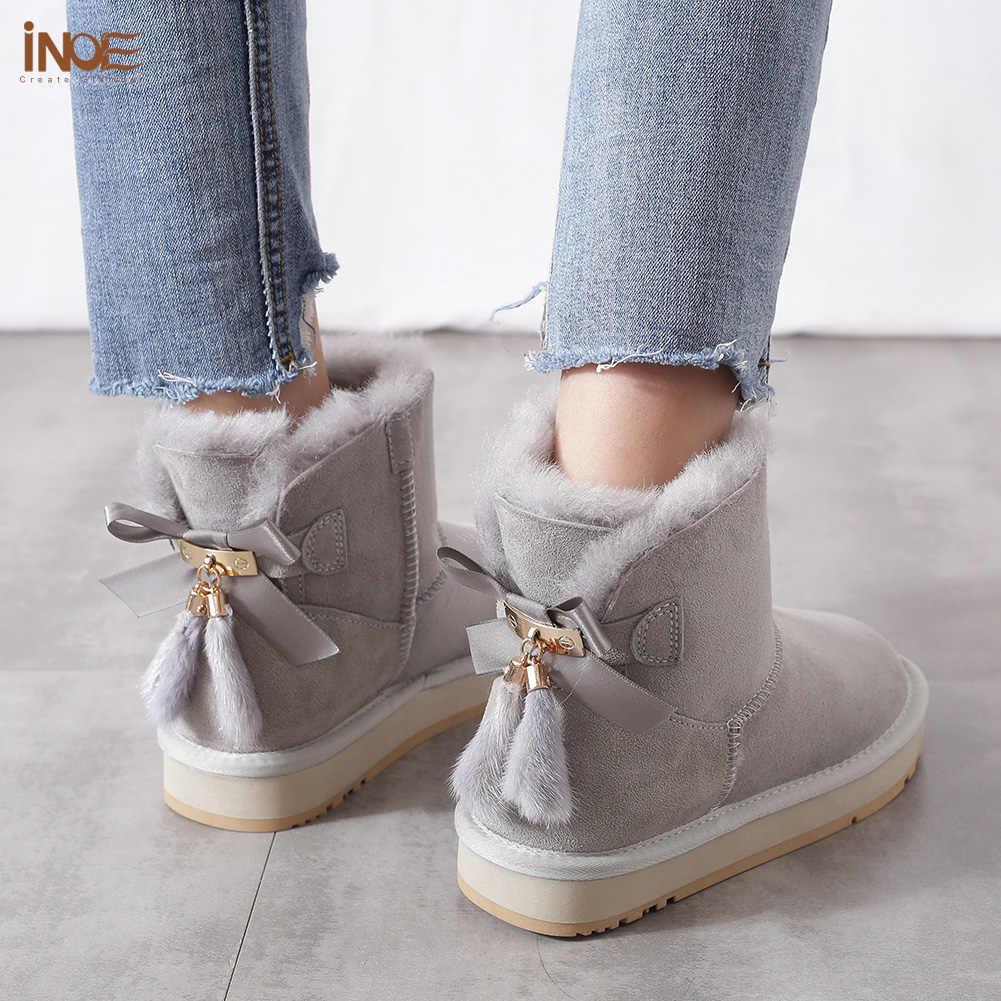 INOE Koyun Derisi Deri Yün Kürk Astarlı Kadın Kısa Ayak Bileği Kış Süet Kar Botları Bowknots ile Vizon Kürk Püsküller Tutmak sıcak ayakkabı