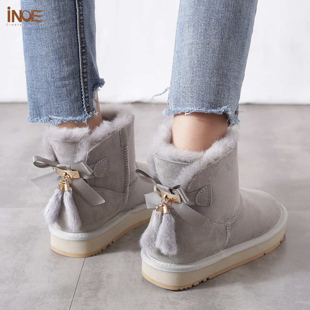 INOE Sheepskin Leather Wool Fur Lined Women Short Ankle Winter Suede Snow Boots with Bowknots Mink Fur Tassels Keep Warm Shoes - 6