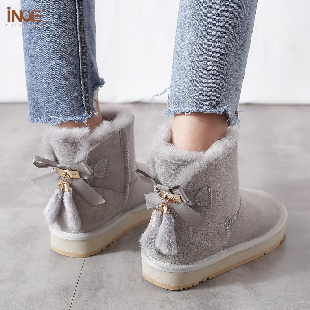 Inoe pele de carneiro couro de lã forrado mulheres curto tornozelo camurça botas de neve com bowknots vison pele borlas manter sapatos quentes - 6
